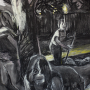 "Backyard, 2016<br>charcoal & pastel on paper<br>50"" x 38"""