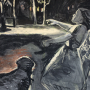 "Night in the Playground, 2015<br>charcoal & pastel on paper<br>50"" x 38"""