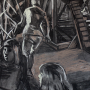 "Structure in the Woods, 2016<br>charcoal & pastel on paper<br>50"" x 38"""